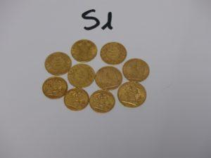 1 Lot de 10 pièces d'or (4 NapIII 1858A ; B1865 ; 1855B ; 1860B / 2 RF 1906 et 1909 / 1 Souverain Georges V 1911 / 2 demi-souverains Georges V 1925 et 1926 / 1 demi-souverain Edouard VII 1910). PB 58,5g