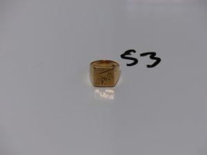 """1 chevalière en or initiales gravées """"NA"""". PB 7,6g"""