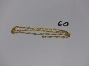 1 collier à motifs filigranés en or (fermoir cassé, L54cm). PB 9,3g