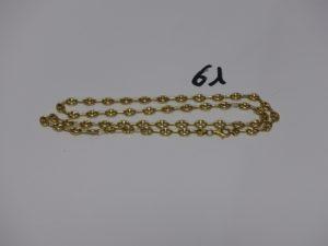 1 collier maille grain de café en or (L 62cm). PB 21,7g
