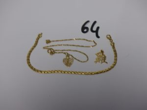 1 bracelet maille festonnée (L18cm), 1 chaîne cassée ornée d'une breloque et 1 petit pendentif zodiaque chinois. Le tout en or PB 6,6g