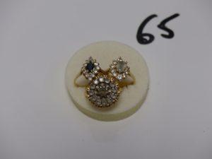 3 bagues en or ornées de pierres (td53, 55 et 56). PB 9,9g
