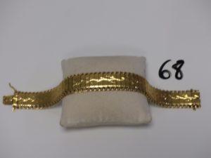 1 bracelet maille articulée en or (L20cm, manque chaînette de sécurité).PB 36,2g