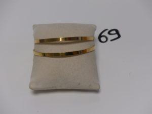 2 bracelets rigides plats en or 22K (diamètre 6cm). PB 24,6g