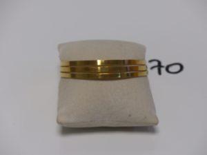 3 Bracelets rigides plats en or 22K (diamètre 6cm). PB 36,8g