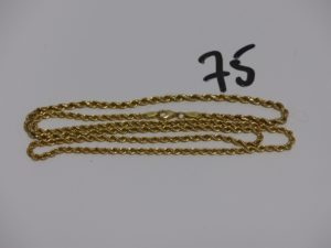 1 chaîne maille corde en or (L65cm). PB 6g