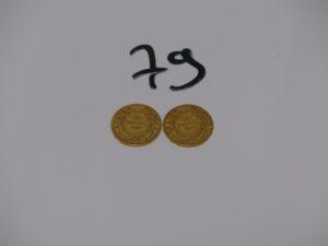 2 Pièces de 20 frs en or NAPIII 1854/1 857A. PB 12,8g