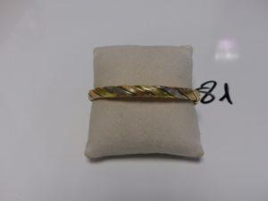 1 bracelet jonc torsadé ovale et ouvrant (un peu cabossé, diamètre 5/6cm). 3ors PB 14g