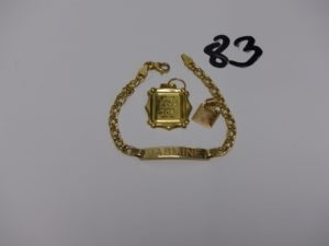 1 bracelet gourmette gravée (L15cm) et 2 pendentifs (1 coran et 1 plaque ouvragée). le tout en or PB 5,3g