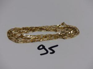 1 chaîne maille alternée en or (L90cm). PB 26,5g