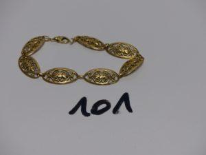 1 bracelet en or à motif filigranés (L19cm). PB 13,5g