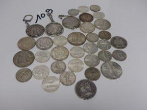 1 Lot de pièces en argent (dont 3 portes clefs). PB 692,3g