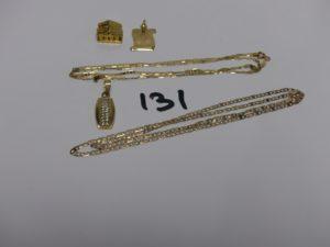 1 pendentif à décor d'une maison, 1 plaque signe de la balance, 1 chaîne maille marine (L44cm). Le tout en or PB 6,6g + 1 chaîne maille marine en alliage 9K (fermoir à fixer, L48cm) 2,6g + 1 pendentif en alliage 9K orné d'un rang de petites pierres 1,7g. Poids total de 10,9g