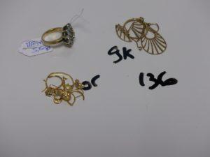 1 Lot casse : Or 1,7g + alliage 9K 1,9g (+ bague en métal doré ornée de pierre)