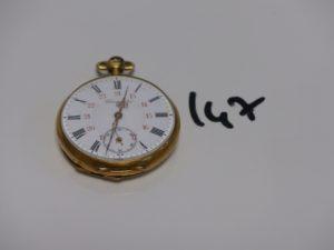 1 montre de poche boitier or cassé (remontoir métal) chronomètre PB 62,2g HS