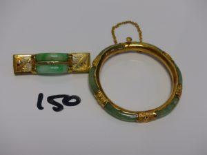 1 bracelet à décor de pierres de jade (chaînette de sécurité en or 18k, manque vis) et 1 broche ornée de pierres de jade (aiguille en métal). Le tout en Alliage 14K PB 25,9g