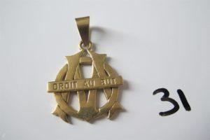 """1 Pendentif en or""""droit au but"""".PB 19,9g"""