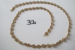 1 Collier en or maille grains de café (L62cm).PB 21,8g