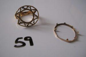 1 Monture de bague en or cassée en deux parties. PB 4,9 g