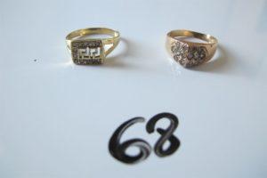 2 Bagues en or pavées de petites pierresblanches (td54/53).PB 4,6 g