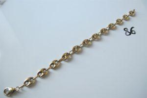 1 Bracelet en or maille grains de café (L22,5cm).PB 14,3 g