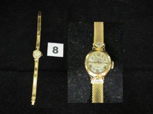 """1 Montre de femme en or marque """"Flamor"""" réhaussée de 2 petites pierres (L 16cm). PB 14,3g"""