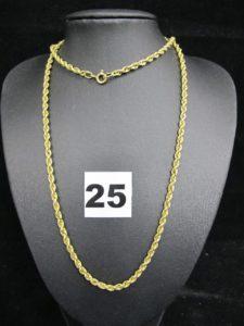 1 sautoir en or en maille corde (L 66cm)PB : 7,2g