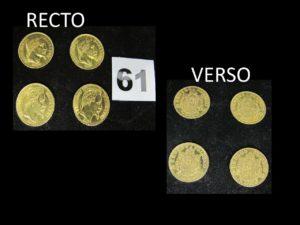 4 Pièces de 20 Francs Napoléon III tête laurée, 2 année 1869, 1 année 1865 et la dernière de 1863. Le tout en or. PB : 25,6g