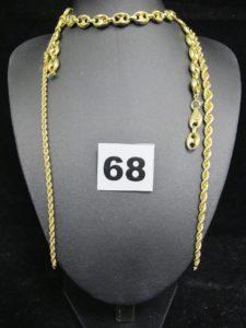 1 chaine maille grain de café creuse (cassée L 47cm) et 1 collier maille corde (cassée L 43cm). Le tout en or. PB : 15,8g