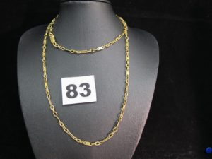 1 chaine en or maille alternée (L 65cm).PB : 11,9g