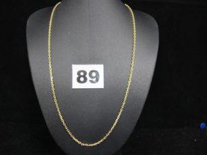 1 chaine en or maille forçat (L 45cm creuse). PB : 7g