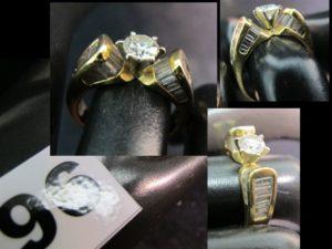 1 bague en or jaune sertie d'un solitaire taille moderne environ 0,25ct et épaulé de diamants baguettes (TD 52).PB : 6,7g