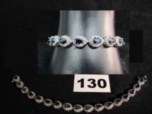 1 bracelet 14K serti de saphirs poires et petits diamants. PB : 17,1g