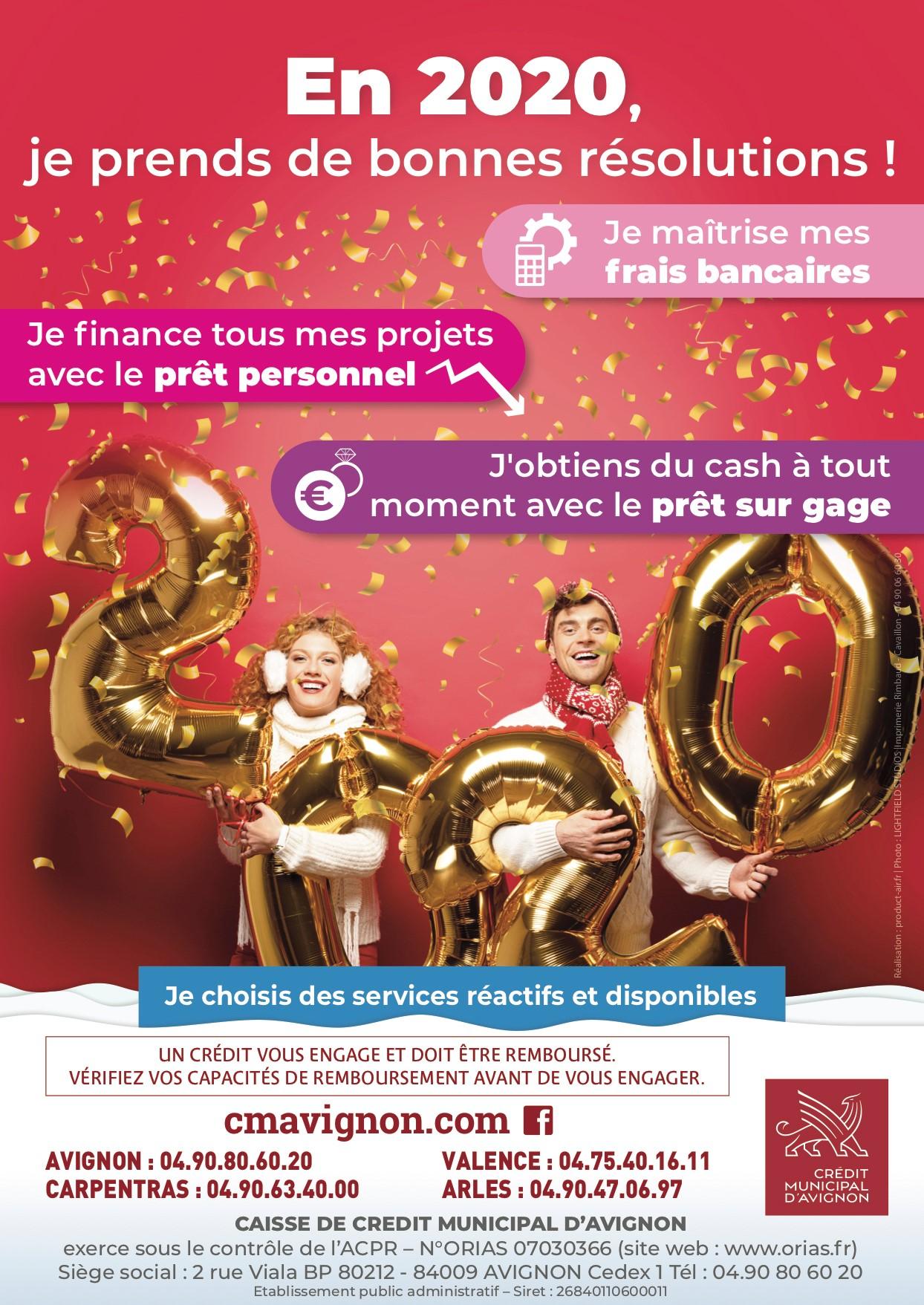 cette affiche représente un couple avec des ballons dorés représentant le nombre 2020 pour féter la nouvelle années et pour appeler à prendre de bonnes résolutions