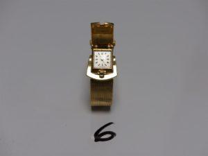 """1 montre Dame modèle ceinture de marque """"Alex Huning"""" bracelet et boîtier or (L16,5cm). PB 50,4g"""