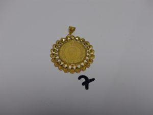 1 pendentif ouvragé en or 22K (diamètre 4,5cm). PB 11,4g