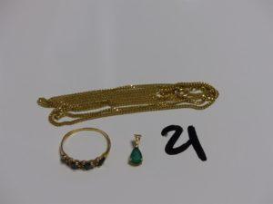 1 chaîne maille gourmette en or (L65cm), 1 bague en or ornée de pierres bleues et blanches (Td56) 1 petit pendentif en or orné d'1 pierre verte et d'1 petit diamant. PB 9,9g