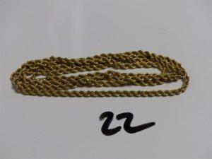 1 chaîne maille corde en or (L81cm, fermoir abîmé).PB 9,9g