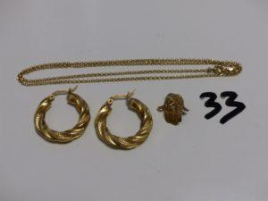 1 chaîne maille jaseron en or (L45cm), 1 paire de créoles torsadées en or et 1 pendentif main en or (cassé). PB 6,2g