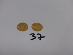 2 Pièces de 20Frs Suisse en or (1899B et 1913B). PB 12,9g
