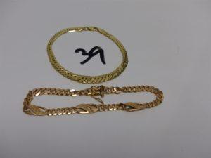 2 bracelets en or : 1 maille anglaise (cabossée, L19cm) et 1 maille gourmette (L21cm). PB 21,7g