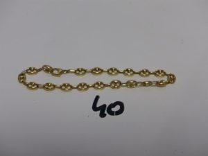 1 bracelet maille grain de café en or (manque anneau de bout,L22cm). PB 8,5g