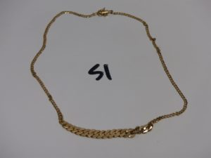1 collier maille gourmette en chute (L42cm, fermoir à réparer). Or PB 13,5g