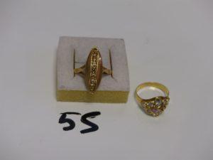 2 bagues en or : 1 ornée d'1 rang de petites pierres (Td64) 1 ornée de pierres (1 chaton vide, Td55). PB 6,2g