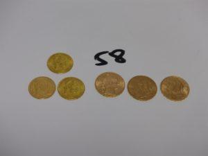 6 pièces d'or : 1 de 10Frs 1863 usée, 2 de 4 florins (1892), 1 de 20Frs Suisse (1927) 2 de 20 Frs (RF1897/1907). PB 28,9g