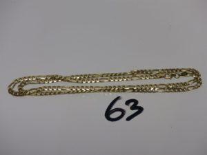 1 chaîne maille alternée en alliage 14K (L55cm). PB 13,8g