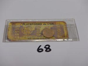 1 pièce de 20Frs sous scellé RF1907. PB 6,4g