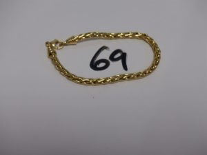 1 bracelet maille palmier en or (L18cm, un peu cabossé). PB 7,7g
