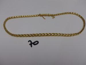 1 collier maille palmier en or avec chaînette de sécurité (L42cm). PB 20,6g