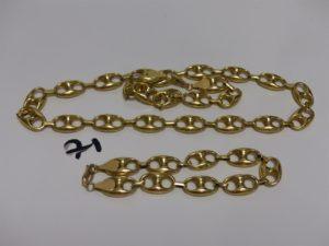 1 collier (L58cm, creux) et 1 bracelet (L24cm, creux) maille grain de café en or. PB 42,2g
